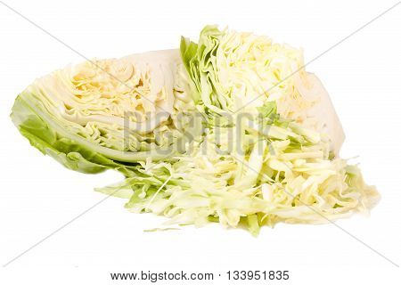 cut young cabbage head isolated on white background.