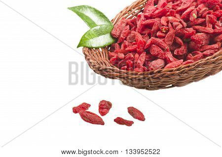 Bowl with Group of Goji berry on the white