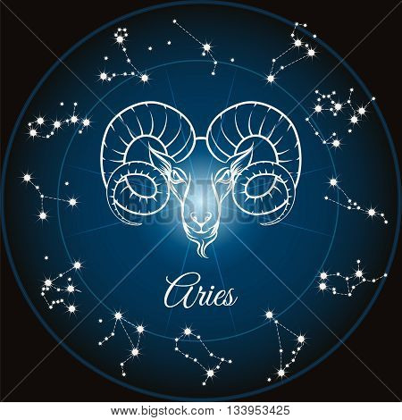 Zodiac sign aries and circle constellations. Vector illustration
