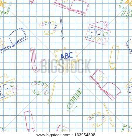 Seamless pattern back to school. Vector White sheet blue squared writing ink Hand-drawn style. Seamless vector wallpaper with the image of colors, brushes, album and other school items