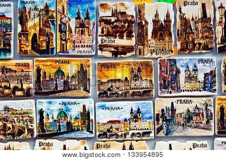 Prague Czech republic - February 22 2016: Souvenir magnets with pictures of Prague sights and landmarks for sale on a touristic street.