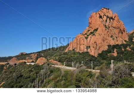Saint Raphael; France  the picturesque Esterel cornice