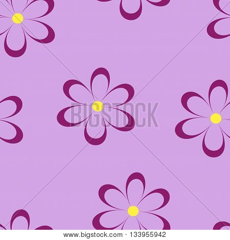Seamless pattern. Vector illustration with flowers. Vintage floral print. Field of cute daisies. Textile design with chamomiles on pink background. Spring or summer bright template. Surface texture.