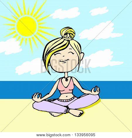 Yogi thinks the girl sitting on the beach by the sea