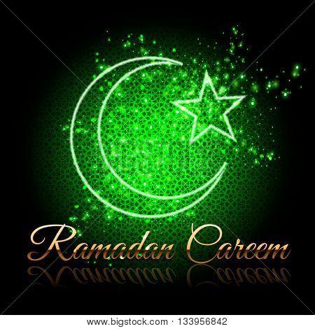 Ramadan Kareem beautiful greeting card - crescent and star on shining green background with islamic girih pattern. Ramadan background. Ramadan poster. Ramadan wallpaper.