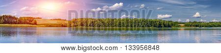 Landscape of a beautiful lake at dusk panorama