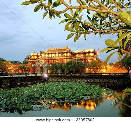 Hue, Vietnam, February 18, 2016 relic ancient capital Hue, Nguyen emperors, at night