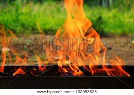 Fire on barbecue grill outdoor in summer