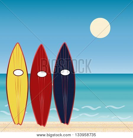 Three surf Boards, beach holidays. Extreme sport. Sunny day. sport of surfing