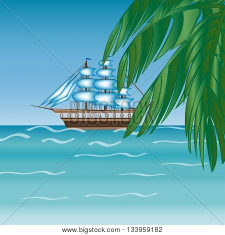 Three masted sailing ship frigate transport. Sea an Ocean cruise. Travel  adventure.