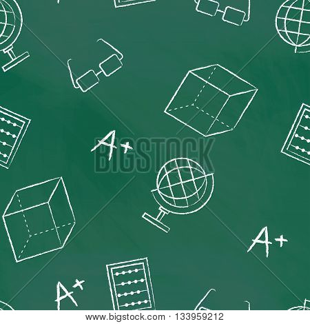Seamless pattern back to school. Vector green blackboard written with white chalk globe, glasses, sphere, A plus, cube. School background for design covers notebooks and textbooks