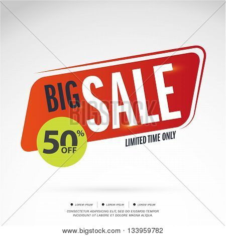 Big Sale Limited Time offer. 50% off. Vector illustration.Theme color.