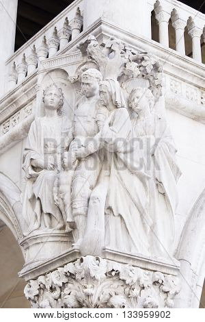 Sculptures on the Doge's Palace in Venice Italy
