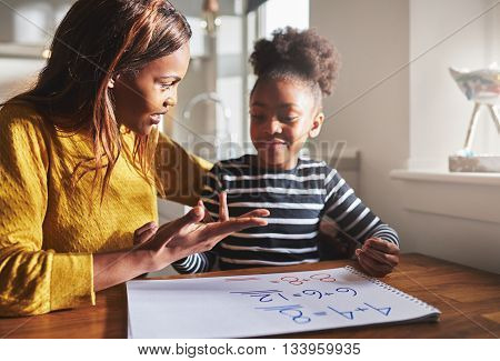 Mom Learning Daughter To Calculate