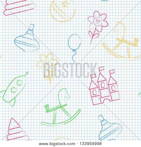 Seamless pattern back to school. Vector White sheet blue squared writing ink. Hand-drawn style. Seamless vector wallpaper with the image of balloon, flower, horse, pyramid, rocket, ball, whirligig