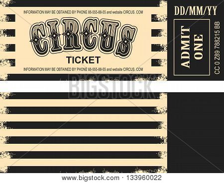 vector illustration of the tickets for the circus, and the two sides of the tear