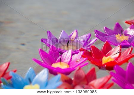 group of artificial flower candle floating on water