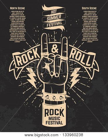 Hot summer festival. Human hand with rock and roll sign. Rock music festival. Design element for poster flyer emblem logo sign. Vector illustration.