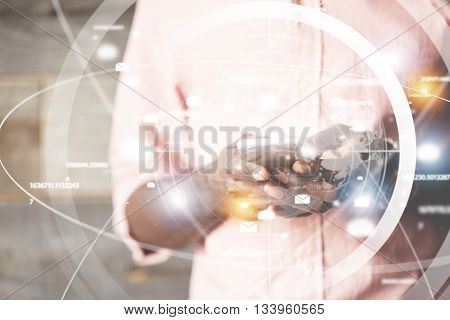 Technology And Worldwide Connection Concept. Close Up Shot Of African Male Hands Holding Smart Phone
