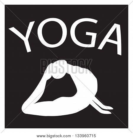 Girl in yoga position. White female silhouette on black background. Vector woman shape icon. illustration of Yoga pose. Logo design. Yogi in asana. Design element for poster studio fitness center.