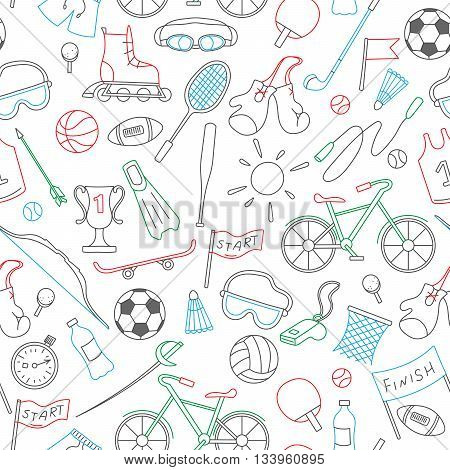 Seamless pattern on the theme of summer sports simple icons colored markers on white background