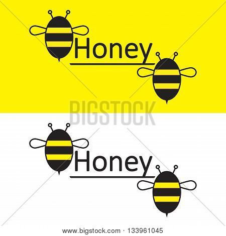 Bee Honey. Honey logo on a yellow and white background. Two bees and honey label. Vector illustration