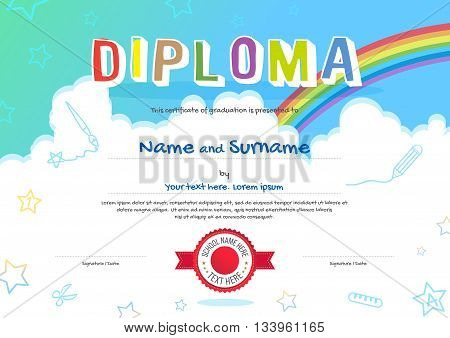 Colorful kids diploma certificate in cartoon style with sky rainbow and kids elements in the background