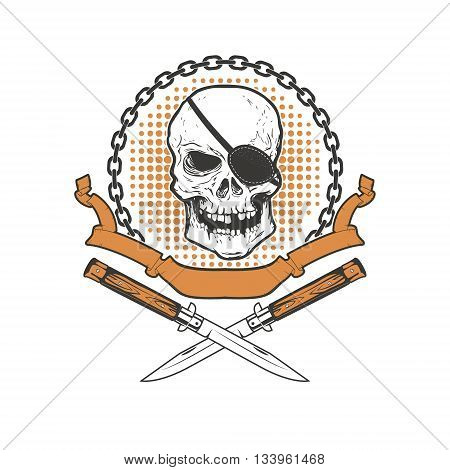 Skull with two crossed knives on grunge background. Design element for t-short print. Vector illustration