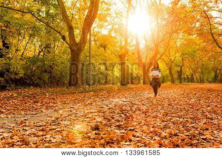 Beautiful young woman having a walk in the Forest in the autumn.
