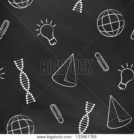 Seamless pattern back to school. Vector black blackboard written with white chalk a cone, bulb, clipa DNA molecule, globe. School background for design covers notebooks and textbooks
