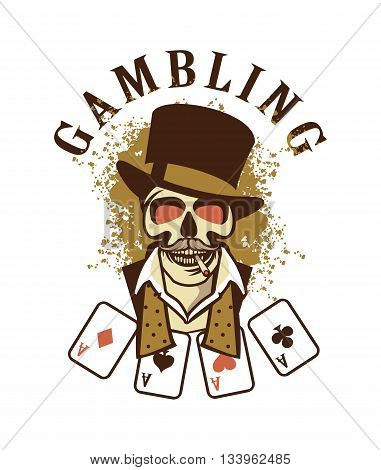 Casino retro logo on a white background attributes and signs