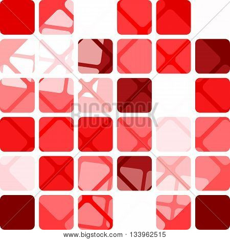 Abstract seamless pattern of squares randomly colored in shades of red