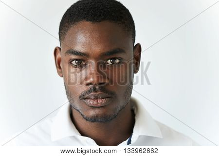 Highly-detailed Close Up Portrait Of Handsome Young African American Man Wearing Stylish Polo Shirt,