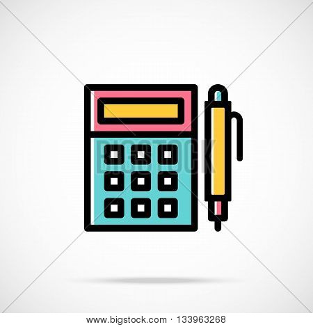 Vector calculator and pen icon. Calculation, accounting, finance concept. Modern thin line flat design graphics for web sites, web banners, infographics, printed materials. Vector icon