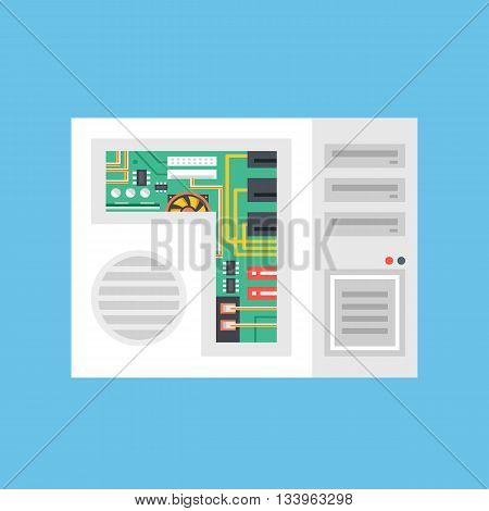 Vector system unit. Computer tower with computer parts inside. Modern flat design graphics concepts for web sites, web banners, printed materials. Vector illustration