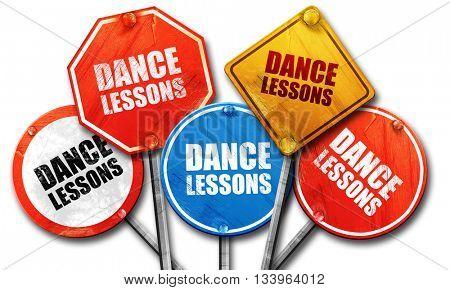 dance lessons, 3D rendering, street signs, 3D rendering, street