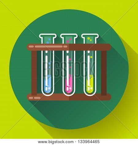 set test tubes bubbling sparkling liquid icon. Flat 2.0 design style