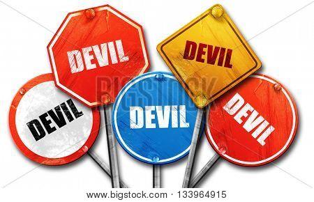devil, 3D rendering, street signs, 3D rendering, street signs