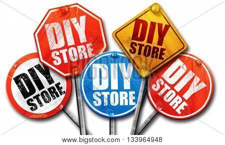 diy store, 3D rendering, street signs, 3D rendering, street sign