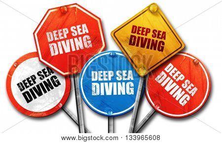 deep sea diving, 3D rendering, street signs, 3D rendering, stree