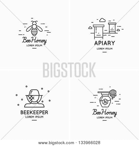Modern linear logos for beekeepers. Tools of the beekeeper. The stickers on the products of the apiary. A set of stylish logos vector bee honey.