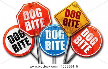 dog bite, 3D rendering, street signs