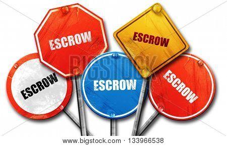 escrow, 3D rendering, street signs