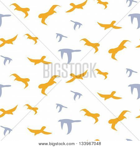 Flock of birds seamless vector pattern. Blue and yellow bird flight silhouettes in the sky on white background. Minimalist style textile fabric wildlife freedom ornament.