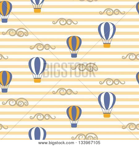 Hot air balloons seamless vector pattern. Blue and yellow air balloons in the sky on stripe background. Minimalist style textile fabric retro transportation boy kid ornament.