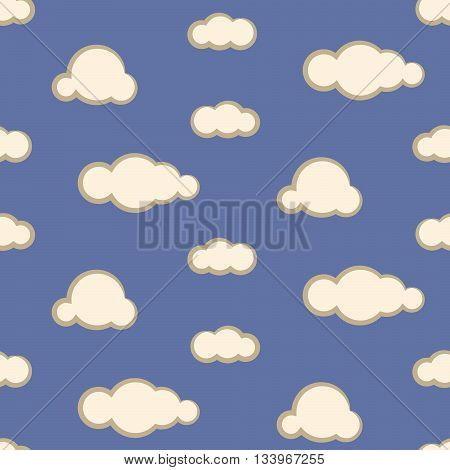 Night sky clouds seamless kid vector pattern. Blue and beige boy background. Minimalist style textile fabric cartoon nature aerial ornament.