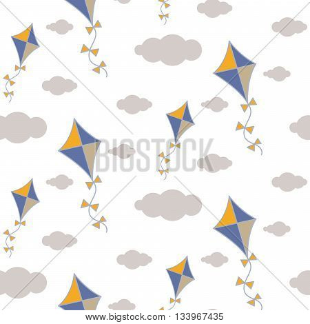 Kite in sky seamless vector pattern. Blue and yellow kite in the grey clouds on white background. Minimalist style textile fabric boy child ornament.
