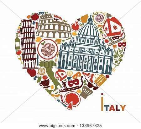 Symbols of culture architecture and cuisine of Italy in the shape of a heart