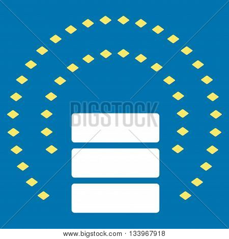 Database Sphere Shield vector toolbar icon. Style is bicolor flat icon symbol, yellow and white colors, blue background, rhombus dots.