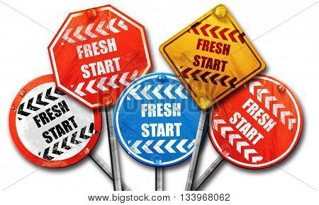 Fresh start sign, 3D rendering, street signs